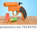 Flare gun with aerial flares on the wooden planks, 3D rendering 76340705