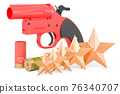 Customer rating of flare gun, signal pistol. 3D rendering 76340707