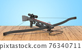 Crossbow on the wooden planks, 3D rendering 76340711