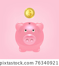 Vector Realistic 3d Pink Retro Piggy Bank Closeup Isolated on Pink Background. Design Template, Money Pig for Graphics, Banners with Golden Shiny Coin. Money, Financial, Savings Concept. Front View 76340921