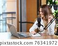 Pretty woman talking with followers online by laptop. 76341972