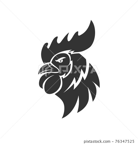 Chicken Rooster Head Mascot Animal Template Silhouette Isolated 76347525