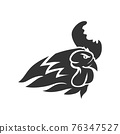 Chicken Rooster Head Mascot Animal Template Silhouette Isolated 76347527