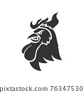 Chicken Rooster Head Mascot Animal Template Silhouette Isolated 76347530