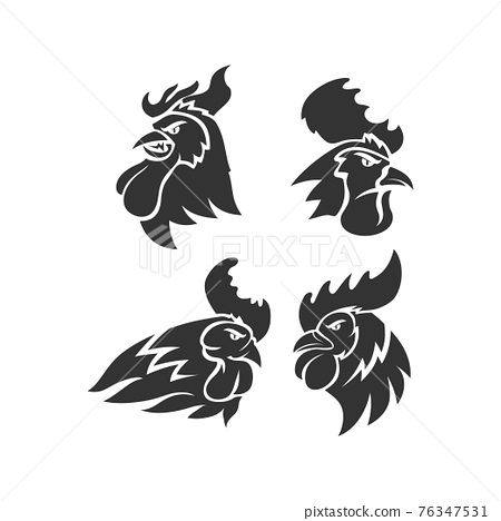 Chicken Rooster Head Mascot Animal Template Silhouette Set 76347531
