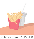 french fries and cola on table isolated on white background with pastel color illustration vector 76350139