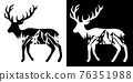 Elk and Mountains Trees Tattoo Design. Adventure and travel graphic For tshirt 76351988
