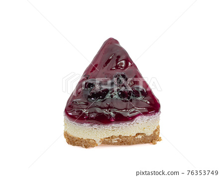 Blueberry cheese pie, a close up of homemade berries cheesecake bakery dessert isolated on white background. 76353749