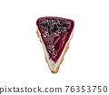 Blueberry cheese pie, a close up of homemade berries cheesecake bakery dessert isolated on white background. 76353750
