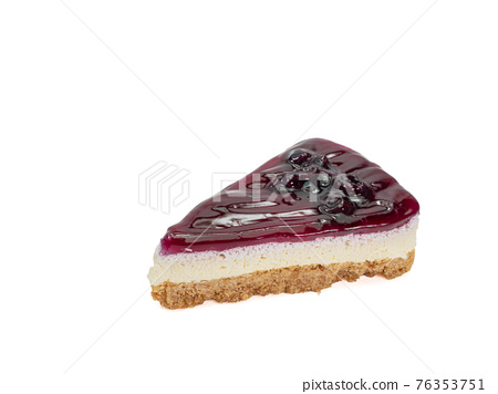 Blueberry cheese pie, a close up of homemade berries cheesecake bakery dessert isolated on white background. 76353751