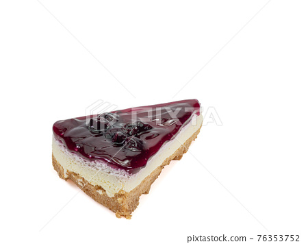Blueberry cheese pie, a close up of homemade berries cheesecake bakery dessert isolated on white background. 76353752