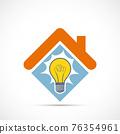 Icon Light bulb inside the house 76354961