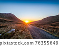 Winter sunset at the Glenveagh National Park in County Donegal - Ireland 76355649