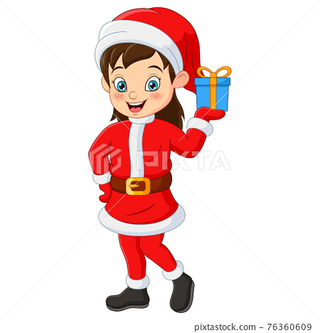 Happy girl in santa claus costume holding a gift 76360609