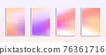 Pastel gradient backgrounds vector set. Soft tender white, orange, pink, purple and yellow colours abstract background for app, web design, webpages, banners, greeting cards. Vector illustration 76361716
