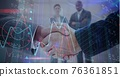 Composition of businessmen shaking hands with financial data processing 76361851
