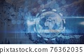 Composition of data processing and network of hexagons over globe on blue background 76362035
