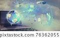 Composition of financial data processing over globe and laptop with cityscape in background 76362055