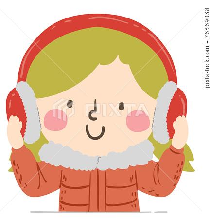 Kid Girl Ear Muffs Winter Illustration 76369038