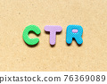 Foam alphabet letter in word CTR (Abbreviation of Click trough rate) on wood background 76369089