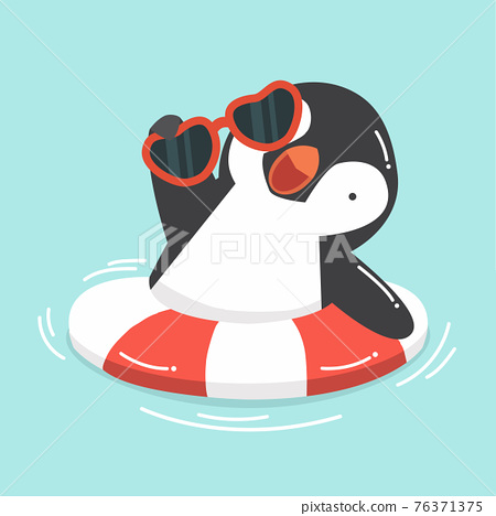 Cute Penguin swimming inflatable ring 76371375