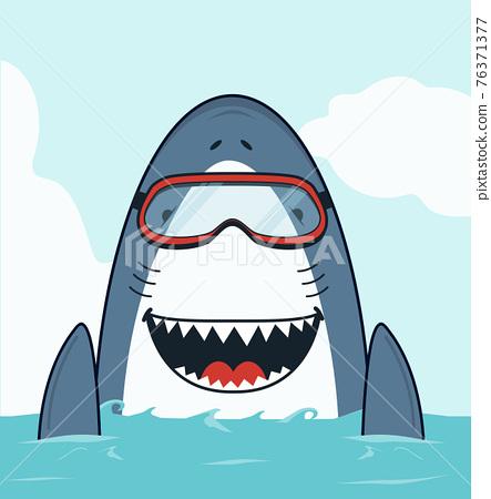Cute Shark swimming open mouth flat 76371377