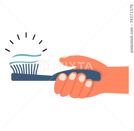 Hand with a toothbrush vector 76371379