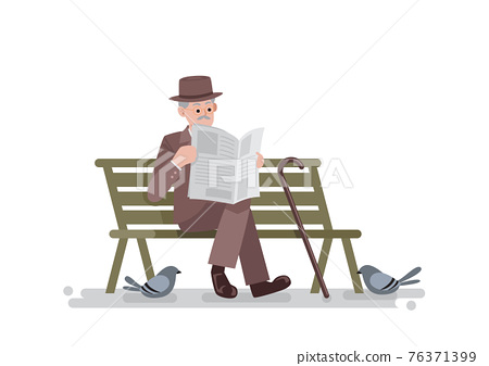 Old man reading newspaper on bench 76371399