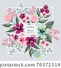 Vector illustration of a floral frame in spring for Wedding, anniversary, birthday and party. Design for banner, poster, card, invitation and scrapbook  76372314