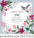 Vector illustration of a floral frame in spring for Wedding, anniversary, birthday and party. Design for banner, poster, card, invitation and scrapbook 76372315