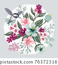 Vector illustration of a beatiful floral bouquet in spring for Wedding, anniversary, birthday and party. Design for banner, poster, card, invitation and scrapbook 76372316