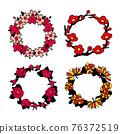 [矢量] 4種不同類型的花的花環 76372519