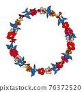 [矢量] 5種花的花環 76372520