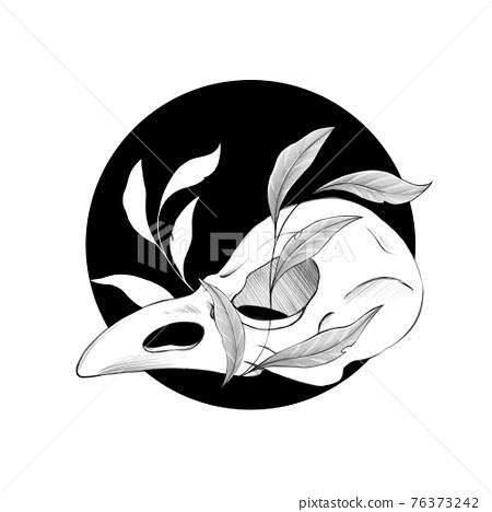Bird skull with leaves. Black and white illustration 76373242