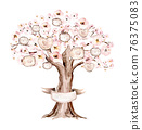 Watercolor Genealogical blossom cherry Family tree. Watercolor children's tree botanical season isolated illustration. Green forest ecology branch and leaves. 76375083