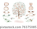 Watercolor Genealogical Family tree. Watercolor children's tree botanical season isolated illustration. olive, oak and cypress. Green forest ecology branch and leaves. 76375085