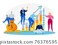 Group people develop business strategy, creative teamwork, vector illustration. Professionals working on concept financial growth. 76376595