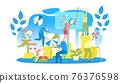 People collaborate together, create business project, creative teamwork, vector illustration. Group professionals analyze innovative marketing. 76376598