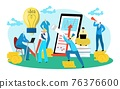 Business innovation discussion, people creative teamwork, vector illustration. Team professionals in office working on strategy for success. 76376600