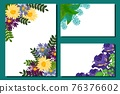 Botanical florist card decorated beautiful bright flowers, vector illustration. Banner natural spring bouquet, organic plants. 76376602