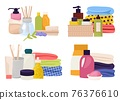 Bathroom accessories close-up, bottles with shampoo, personal care cosmetics, vector illustration. Body care liquid, soft fresh towels. 76376610