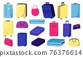 Large collection suitcases, bags, vector illustration. Set designer stylish accessories for travel, trip. Bright colors, elegant handbags designs. 76376614