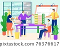 Team professional engineers architects working with sketch building, vector illustration. People in office job over construction project. 76376617