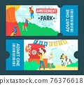 Graphic design cartoon colorful amusement park tickets, vector illustration. People in fairground have fun, ride carousel, play darts. 76376618