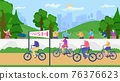 Active senior old people lead healthy lifestyle vector illustration. Retirees in nature. Cycling suitable for leisure grandmothers and grandfathers. 76376623