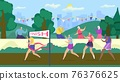 Active senior old people have fun compete, vector illustration. Happy retirees jogging outdoors in summer. Active fitness at age strengthens health. 76376625