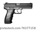 Black pistol gun isolated on white background in 3d illustration style 76377158