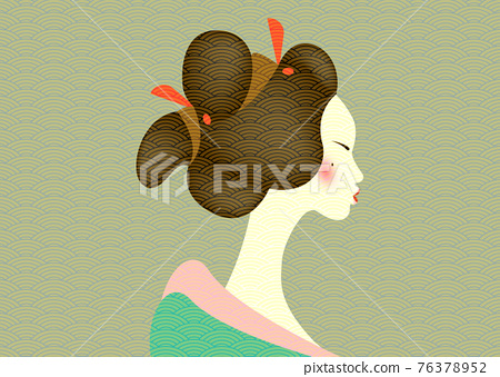 Vintage portrait of the young Japanese woman an ancient hairstyle. Geisha, maiko, princess. Traditional Asian Girl style. Print, poster, t-shirt, card. Vector old Japanese pattern green background 76378952