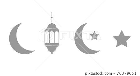 Gray lanterns, crescent and stars set on white background. Ramadan dark icons. Celebration design elements. Ramadan Kareem greeting card. Muslim islamic feast. Vector illustration 76379051