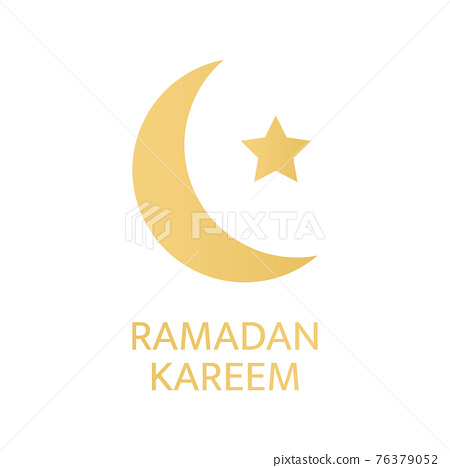 Ramadan Kareem greeting card. Golden crescent and star symbol on white background. Celebration luxury gold design elements. Eid Mubarak banner. Muslim islamic feast. Vector illustration 76379052